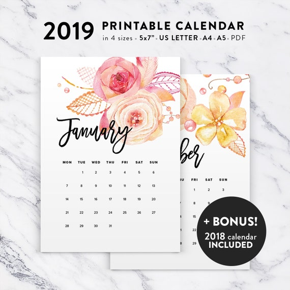 Printable Calendar 2019 Floral Watercolor Calendar Printable Etsy