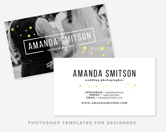 Photographer Business Card Template Wedding Photographer Gold Business Card Design Digital Photoshop Template Instant Download