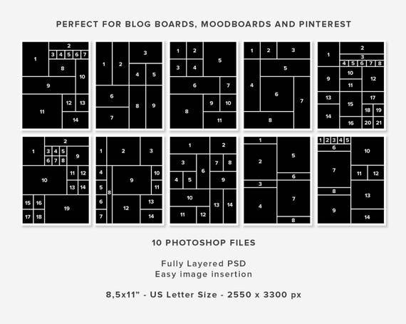 10 Moodboard Vorlagen Photoshop-Vorlagen Blogging-Vorlage | Etsy