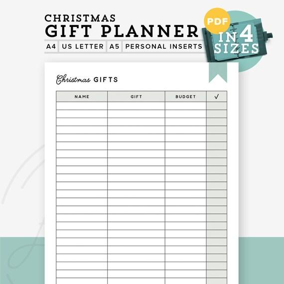 gift planner printable pdf printable gift list christmas etsy