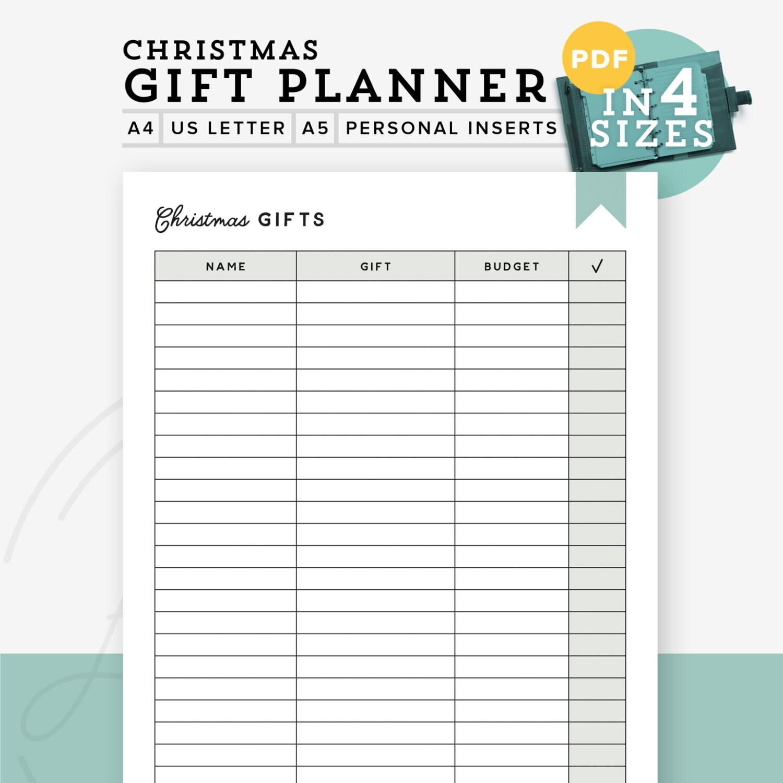 Gift planner printable PDF Printable gift list christmas | Etsy