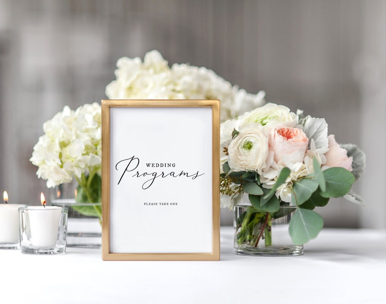 Wedding Programs Sign Printable \u2022 Editable \u2022 Calligraphy \u2022 2 sizes \u2022 Wedding Decoration Sign \u2022 Wedding Sign \u2022 Wedding Sign Templett Sign