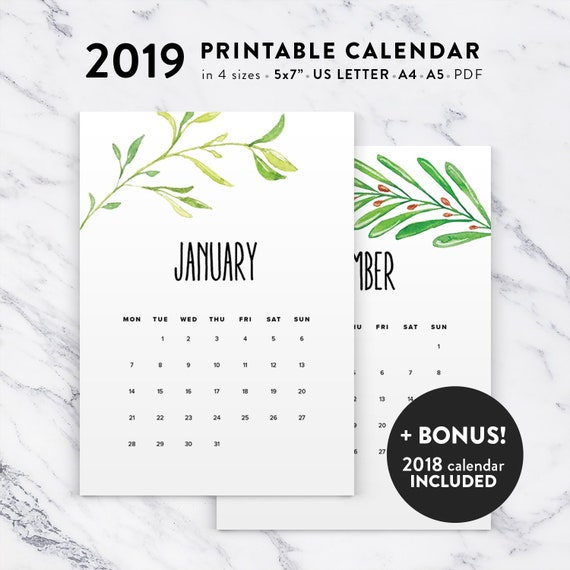 Floral Calendar 2019 Printable Calendar Watercolor Printable Etsy