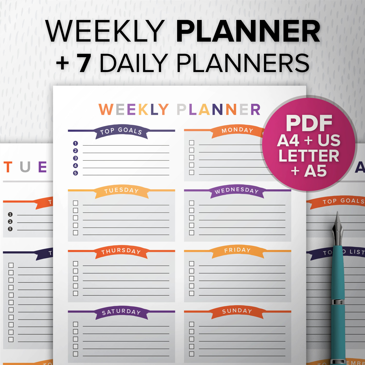 image about Full Focus Planner Pdf known as Colourful Weekly Planner PDF Orange Red, Printable weekly planner, Do-it-yourself todo checklist, A5 Refills, A4/Letter, Table Supervisor, Fast Obtain