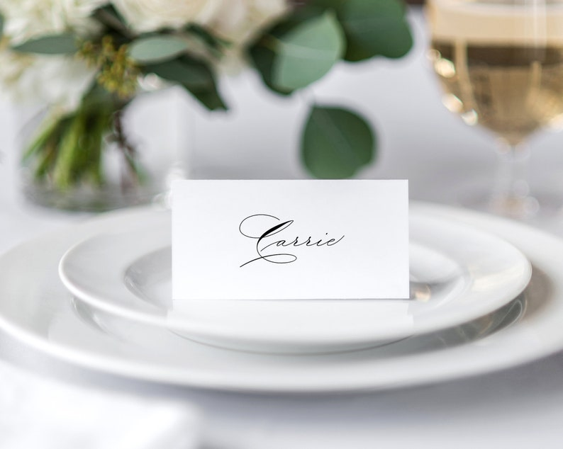 Elegant Place Cards Template Calligraphy \u2022 Wedding Place Cards \u2022 Table Cards \u2022 Flat and Tent Folded \u2022 Editable Template \u2022 Instant Download