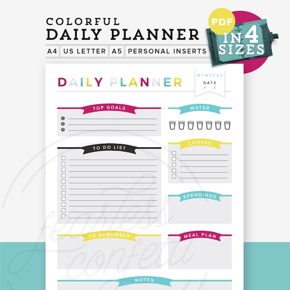 colorful daily planner pdf printable planner diy to do list etsy