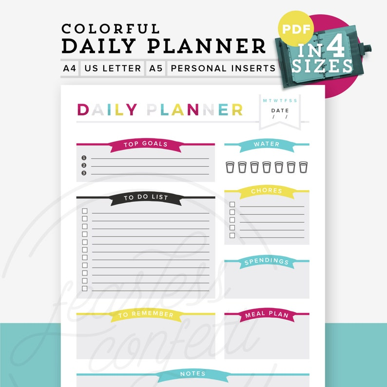 photograph regarding Diy Daily Planner called Vibrant Day-to-day Planner PDF, Printable planner, Do-it-yourself towards do record, A4/Letter Dimension, A5 Inserts, Unique Dimensions, Table Supervisor, Immediate Down load