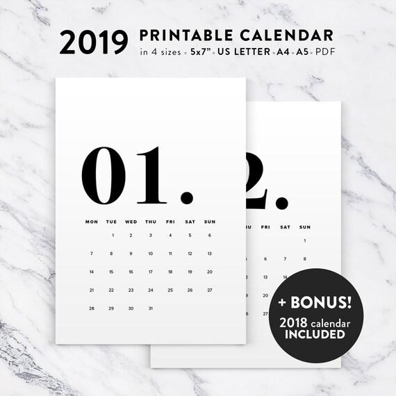 Printable Calendar 2019 Minimal Typographic Calendar Planner Etsy