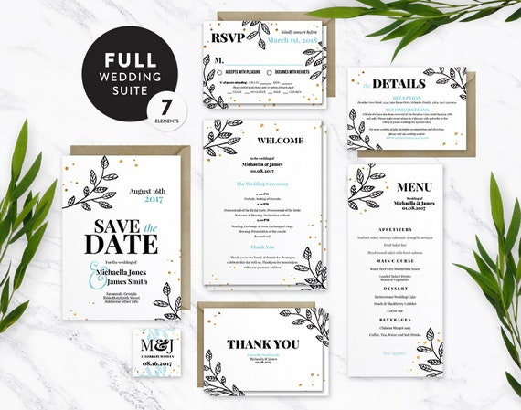 floral gold wedding suite template full kit 7 pieces etsy
