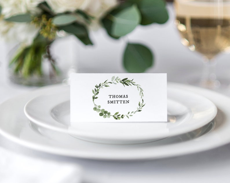 Floral Place Cards Template \u2022 Greenery Calligraphy \u2022 Wedding Place Cards \u2022 Flat and Tent Folded \u2022 Editable Template \u2022 Instant Download