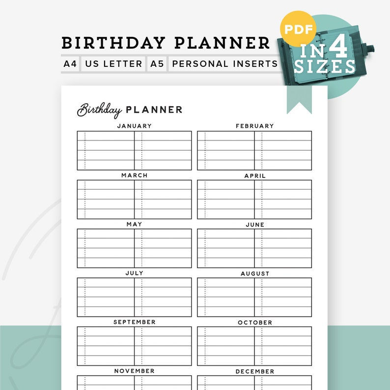 image relating to Birthday List Printable named Printable Birthday Planner, Birthday Checklist, Birthday Planner, Every year Organizer A5 refill A4/Letter, Individual Inserts, Prompt Down load