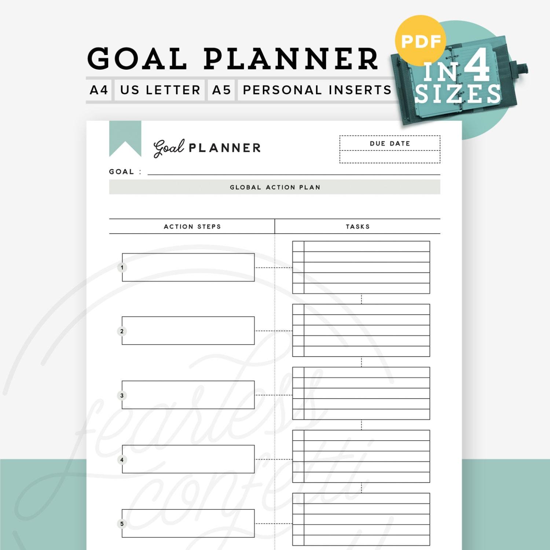 printable goal planner printable goal tracker goal planner
