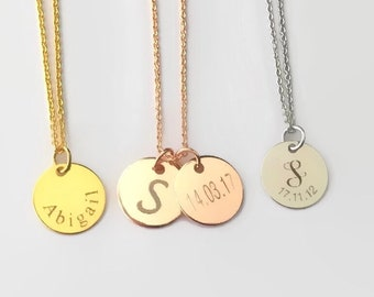 Custom initial necklace Mother's necklace personalized monogram necklace dainty custom disc family coin necklace mother sister gift for her