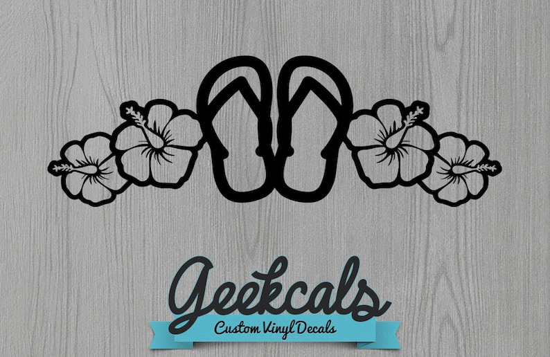 8fc7623cd8ef Flip Flops Hibiscus Flower Vinyl Decal Perfect for your car