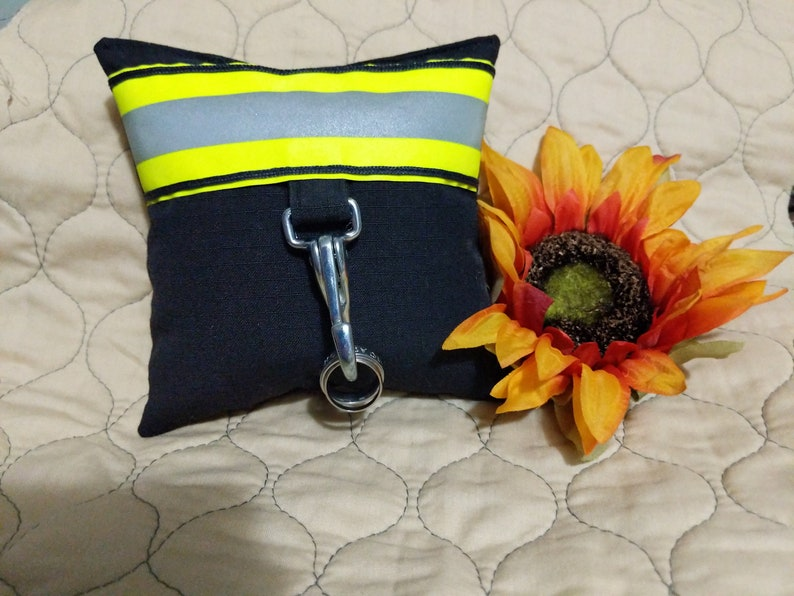 Firefighter Turnout Treasures Small wedding Ring Bearer Pillow image 0