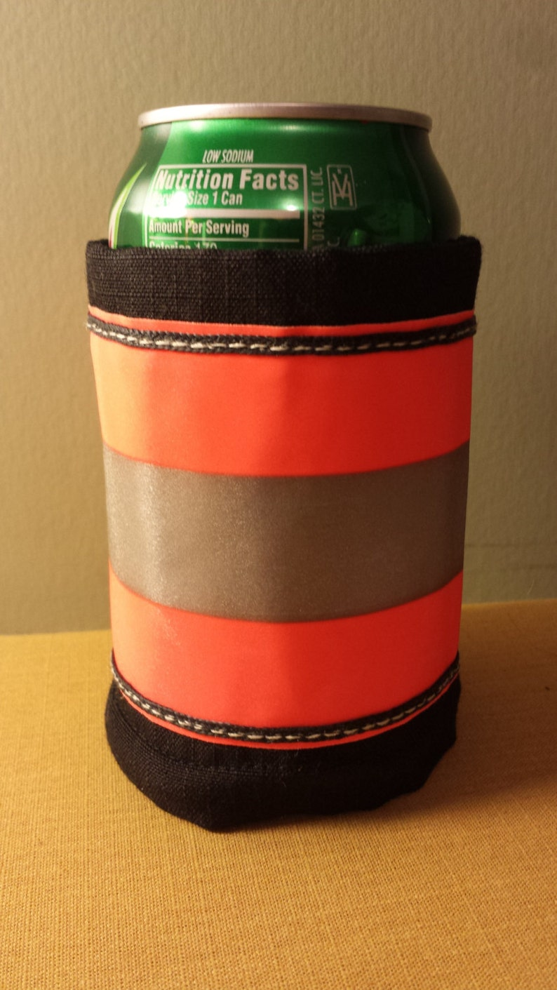 Firefighter Turnout Treasures Can Wrap.  Black with Red Orange image 0