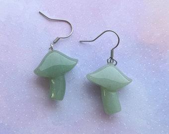 Aventurine magic mushroom earrings. Green, silver.