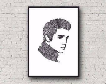 Elvis Presley Zentangle A4 Art Print