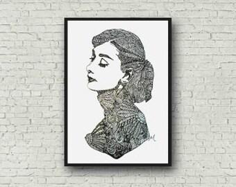 Audrey Hepburn Zentangle A4 Art Print