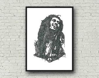 Bob Marley A4 Zentangle Art Print