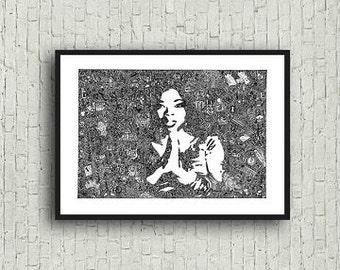Oprah Winfrey Zentangle A4 Art Print with Legend