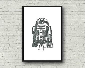 R2-D2 Star Wars Zentangle A4 Art Print