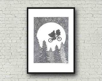 ET and Elliot Zentangle A4 Art Print