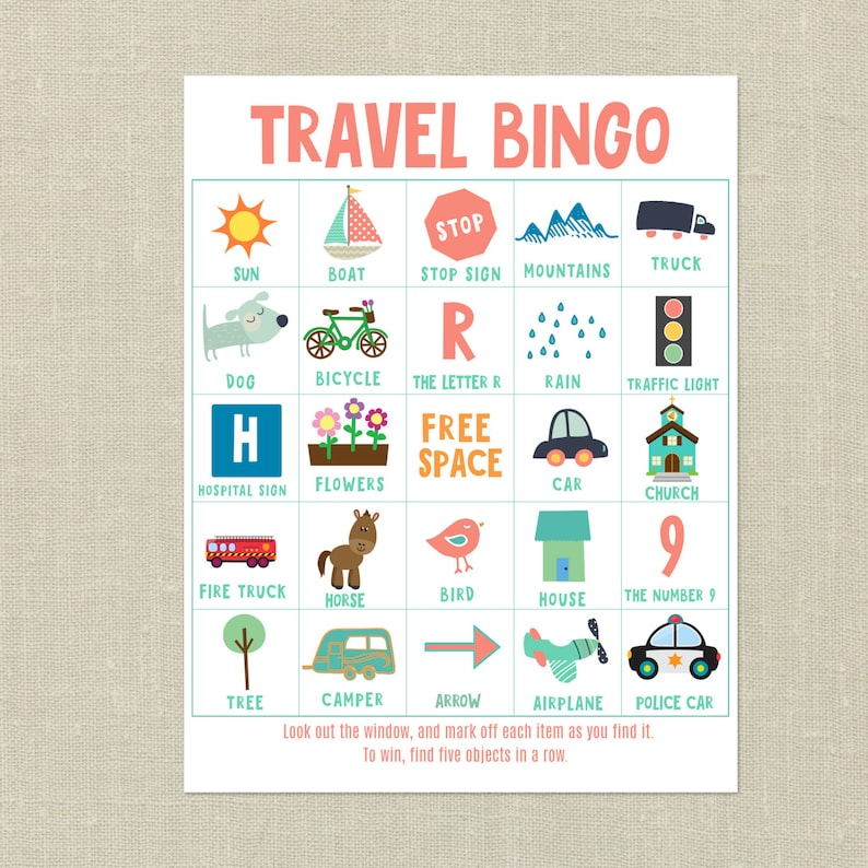 graphic regarding Travel Bingo Printable called Printable Push Bingo Playing cards -Street Holiday Recreation, Spouse and children Drive Game titles for Young children, Printable Things to do