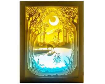 Handmade Paper Craft 3D Papercut Light Box LED Night Light Lamp Luminary Lantern Shadow Box with Remote Indoor Decor Gift For House Warming