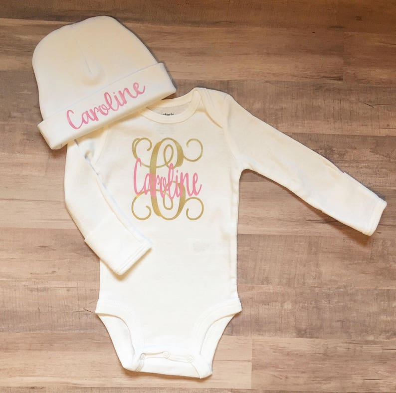 a9fdf4285f01 Personalized baby bodysuit monogram baby gift baby girl