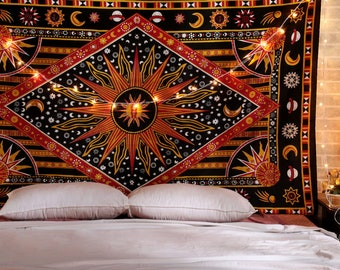 Sun Moon Mandala Tapestry Hippie Cotton Bedspread Dorm Decor Wall Hanging  Tapestries Twin Size Tapestries Bohemian Psychedelic Tapestry d248b67ad