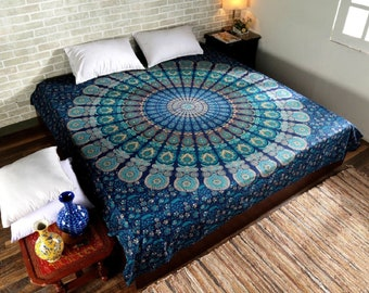 Mandala Tapestry Indian Wall Hanging Bedspread Cotton Twin Queen Size Tapestries Handmade Psychedelic Tapestries Wall Decor