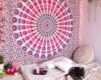 Handmade Mandala Tapestry Boho Mandala Wall Hanging Bedspread Psychedelic Tapestries  Wall Decor Pink Color 137cd10a25