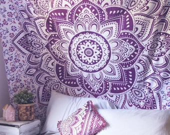 Purple Lotus Tapestry Wall Hanging Bedspread Mandala Handmade Tapestries Hippie Bohemian Dorm Decor Twin Queen Size Cotton Tapestries
