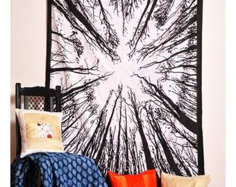 Black And White Forest Tapestry Mandala Hippie Wall Hanging Bedspread Handmade Tapestries Bohemian Dorm Decor Cotton ||55 X 85 Inches||