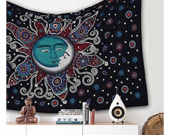 Beautiful Sun Moon Tapestry Mandala Wall Hanging Bohemian Bedspread Hippie Dorm Decor Throw 100 % Cotton Tapestry Twin Size