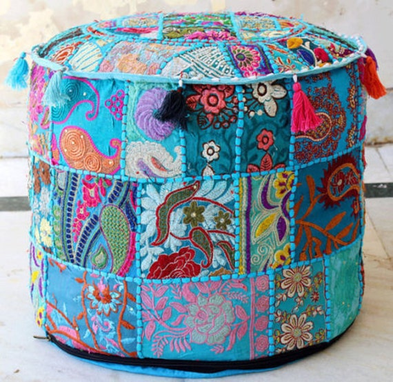 Remarkable Indian Hippie Khambadia Pouf Ottoman Foot Stool Cover Floor Pillow Round Pouf Cover Decor Patchwork Seating Stool Cover Creativecarmelina Interior Chair Design Creativecarmelinacom
