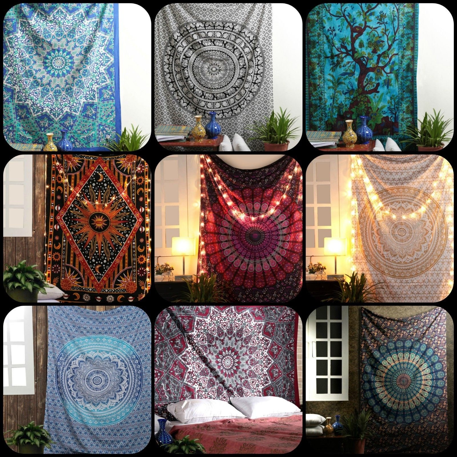 10 Pcs Wholesale Lot Bohemian Mandala Tapestry Throw Indian Decor Wall Hanging