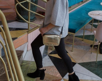 Gold crossbody clutch bag, evening bag, shoulder clutch bag, trendy clutch bag,