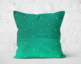 Teal Pillow cover, Brocade Cushion cover, Polka Dot Pillow, Throw Pillow teal, Silk Throw Pillow, Brocade pillow, Teal cushion cover