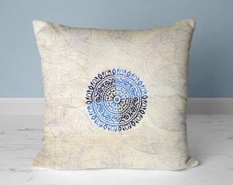 Throw pillow ivory, blue, Indigo pillow cover, Linen pillow cover, Throw pillow asian, Bue pillow covers 20x20, Mudcloth pillow style