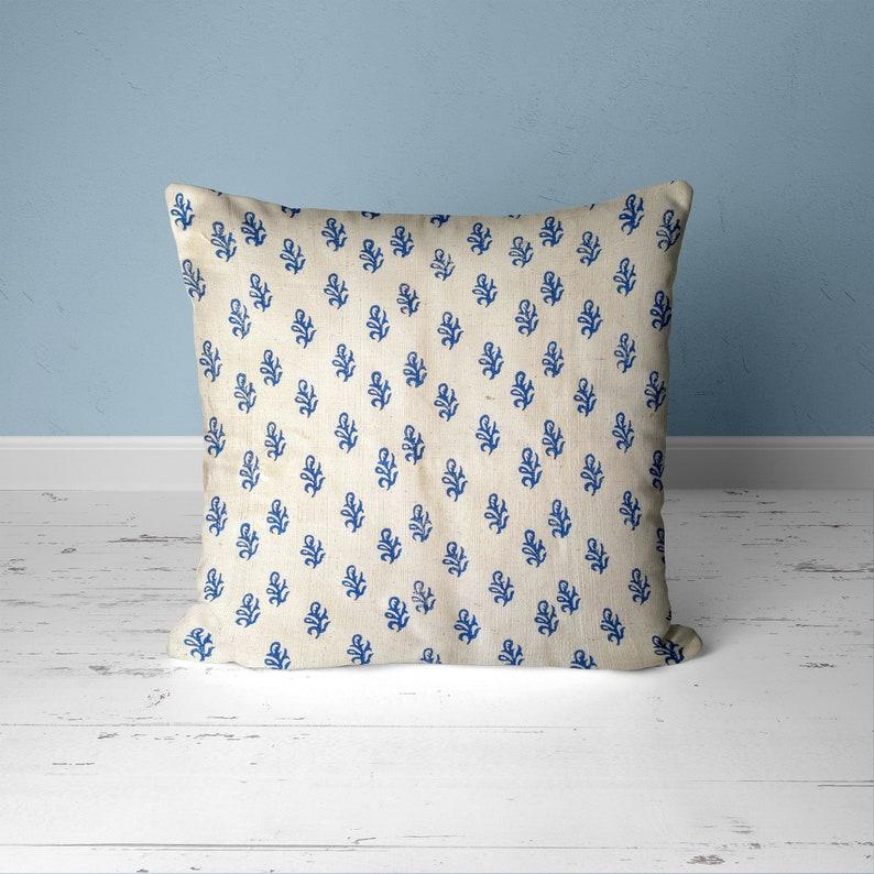 Indian block print pillow covers Throw pillow indigo decor image 0