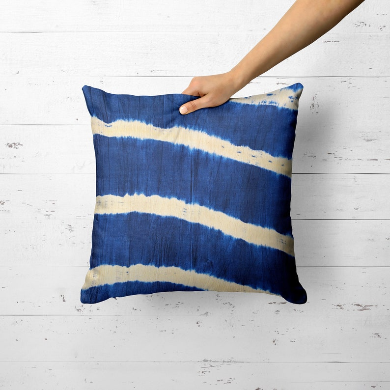 Shibori Pillow Indigo batik pillow cover Throw pillow Indigo image 0