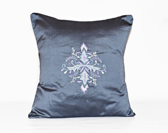 Floral embroidered pillow cover embroidered cushion, Grey pillow cover, Embroidered pillowcase, Embroidered throw pillow covers 16x16