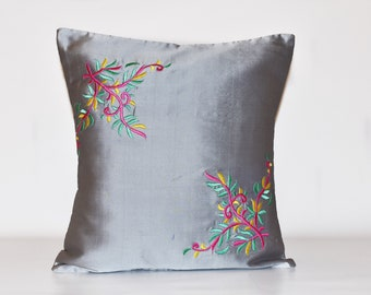 Embroidered pillow covers, Embroidered cushion, Grey cushion cover, Embroidered pillowcase, Embroidered throw pillow covers 16x16