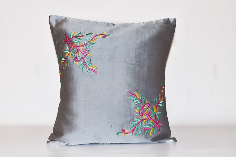 Embroidered pillow covers Embroidered cushion Grey cushion image 0
