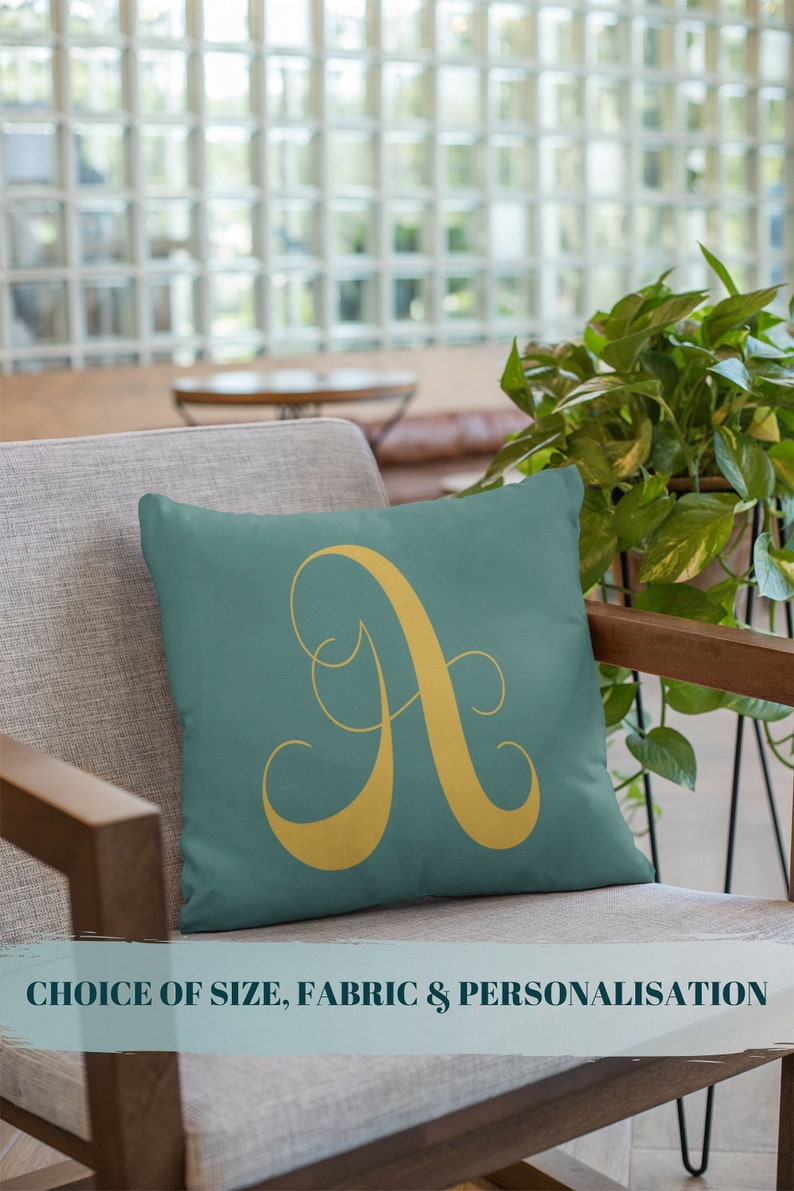 Monogram Pillow Teal Dorm Decor Monogram Cushion image 0