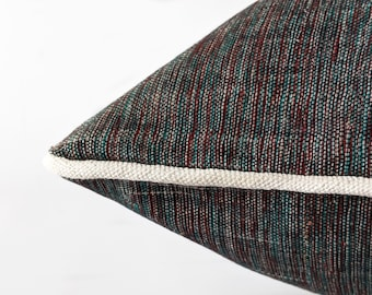 Grey rustic decor living room cushion, Farmhouse rustic cushion cover 45x45, Gray cushion piping, Handloom cotton cushion cover farmhouse
