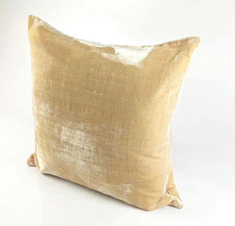 Cream Velvet Throw Pillow Cover Housewarming Gift New Home image 0
