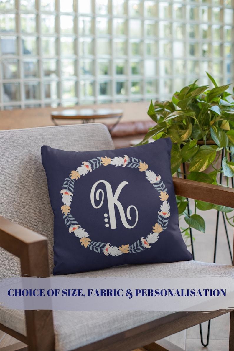 Wreath monogram pillow Floral initial Large floral letter image 0